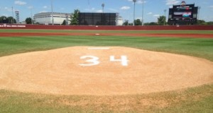 Zach Farmer's No. 34 is written on the mound at Bill Davis Stadium after his passing on Aug. 4, 2015. Credit: Ryan Cooper / Sports Editor