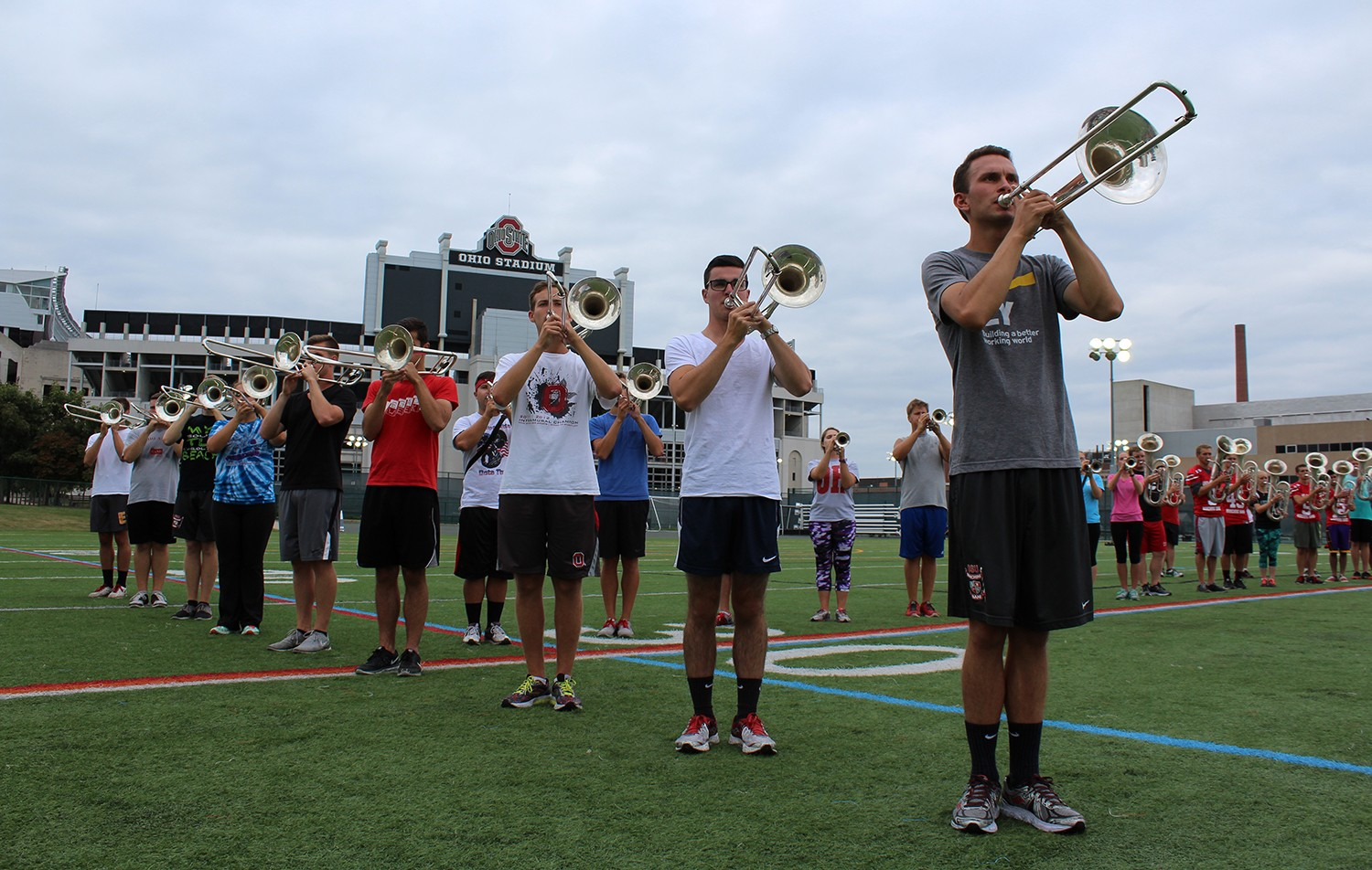 Members of the OSU Marching Band practice on August 26 at Lincoln Tower Park. Credit: Michael Huson / Campus Editor
