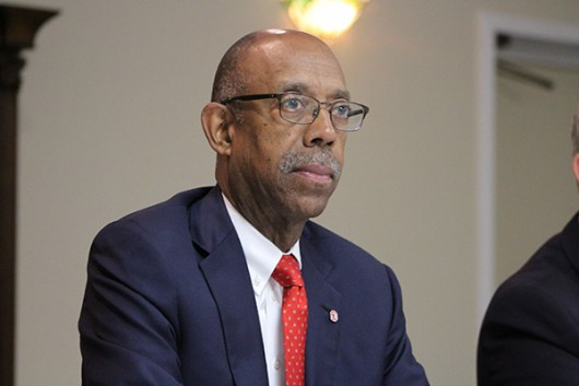 University President Michael Drake sits on a panel during his college-affordability tour August 2015. Credit: Lantern File Photo