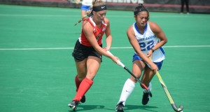 Sophomore midfielder Morgan Kile (8) battles for the ball in a game against Saint Louis on Aug. 28 at Buckeye Varsity Field. OSU won the season opener 5-0.