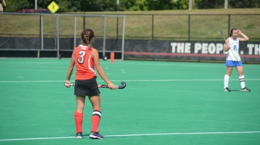 Senior forward Peanut Johnson (3) surveys the field during a game against St. Louis on Aug. 28. OSU won, 5-0. Credit: Kevin Stankiewicz / Asst. Sports Editor