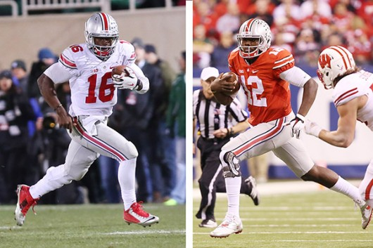 Quarterbacks J.T. Barrett (left) and Cardale Jones (right).  Photo Illustration by Samantha Hollingshead / Photo Editor