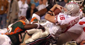 Ohio State quarterback Craig Krenzel scores a touchdown against Miami during the second quarter of the Fiesta Bowl on January 3, 2003. Credit: Courtesy of TNS