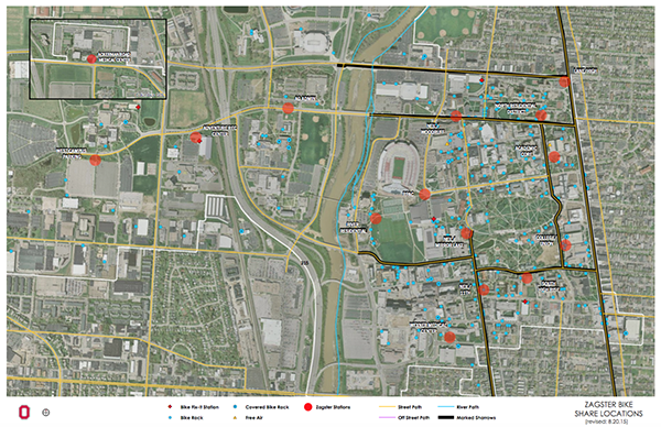 All bike accessible locations located throughout campus. Credit: Courtesy of OSU