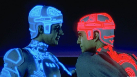 Bruce Boxleitner as Tron (left) and Jeff Bridges as Kevin Flynn (right). Credit: Courtesy of Erik Pepple