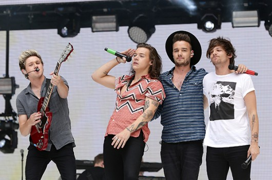 Niall Horan, Harry Styles, Liam Payne and Louis Tomlinson of One Direction perform on stage during Capital FM's Summertime Ball at Wembley Stadium in London on June 6, 2015. Photo Courtesy of TNS
