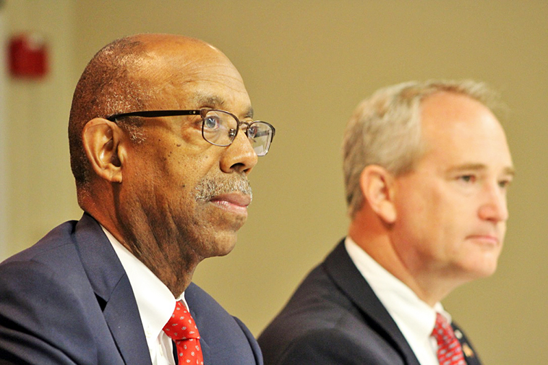 University President Michael Drake and Senate President Keith Faber attend a forum on August 13 in Urbana, Ohio. Photo Credit: Michael Huson / Campus Editor