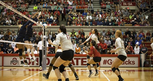 OSU Women's Volleyball vs. Penn State on October 31st @7pm in the St John's Arena. Credit: Lantern file photo