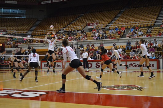 OSU freshman setter Taylor Hughes (6) sets the ball during a match against Florida State on Sept. 6 at St. John Arena. Credit: Ashley Roudebush / For The Lantern