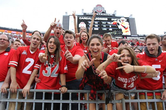 Students cheer during Ohio State's 38-12 victory over Western Michigan on Sept. 26 at Ohio Stadium. Credit: Samantha Hollingshead / Photo Editor