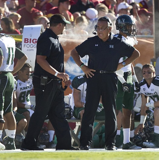 Hawaii head coach Norm Chow was left looking for answers against Southern California at the Los Angeles Coliseum on Saturday, September 1, 2012, in Los Angeles, California. USC topped Hawaii, 49-10. (Gina Ferazzi/Los Angeles Times/MCT)
