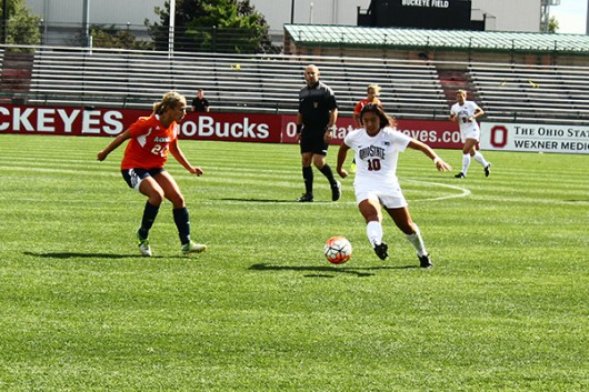 OSU freshman midfielder Sarah Roberts (10) controls the ball during a game against Bucknell on Sept. 13 at Jesse Owens Memorial Stadium. OSU won 2-0. Credit: Carlee Frank / For The Lantern