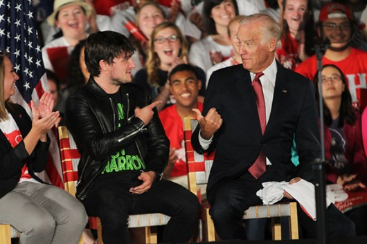 "Actor Josh Hutcherson and Vice President Joe Biden joke at an Ohio State held ""It's On Us"" campaign on Sept 17 at Jesse Owens South Recreation Center.  Credit: Samantha Hollingshead / Photo Editor"