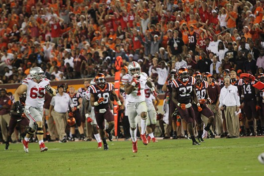 OSU redshirt senior H-Back Braxton Miller (1) carries the ball during a game against Virginia Tech on Sept. 7 in Blacksburg, Virginia. OSU won, 42-24. Photo Credit: Samantha Hollingshead / Photo Editor