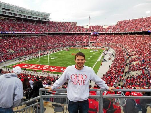 Austin Manna during an Ohio State football game. Credit: Courtesy of Sean Robbins