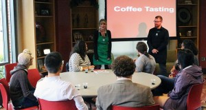 Allie Gehiring, barista of Starbucks, and Mathew Bertram, store manager of Starbucks, discussed tips coffee tips with students.