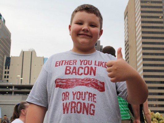 Evan Thomas (11) at Ohio Bacon Fest at the Columbus Commons  on Sept. 25. Credit: Mason Swires / Lantern Reporter