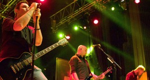 """Benjamin Burnley (left), Aaron Bruch and Jasen Rauch of the rock band Breaking Benjamin perform their Billboard Top 10 song """"Angels Fall"""" for a roaring crowd at the LC Pavilion in Columbus on Sept. 21"""
