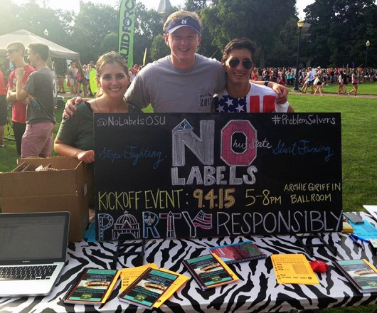Volunteers for No Labels during OSUs involvement fair on August 25. Credit: Courtesy of @NoLabelsOSU