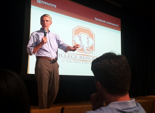 Senator Rob Portman speaks to students at the US Bank Theater Conference Center at Ohio Union on September 1. Credit: Joely Friedman / Lantern Reporter