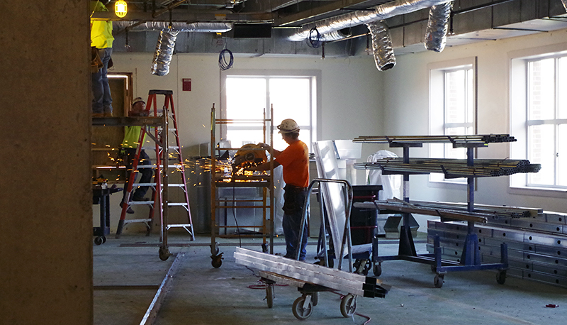 Construction workers continue to make progress on the new Research Commons on the third floor of the 18th Ave. Library on Sept. 8. Credit: Courtesy of Pamela McClung
