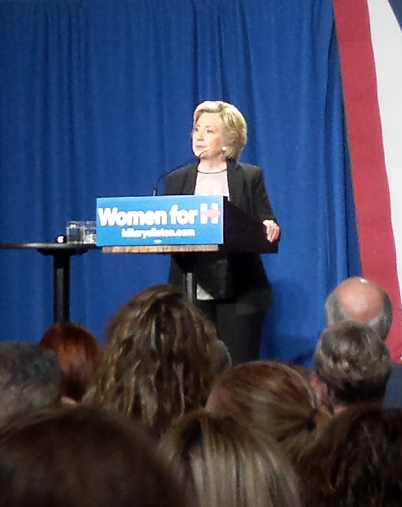 Democratic presidential candidate Hillary Clinton speaks to a crowd Thursday at Columbus Athenaeum in the capital city. Photo By Joely Friedman