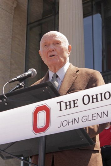 Former astronaut and U.S. Sen. John Glenn speaks at a ceremony honoring him and the newly named John Glenn College of Public Affairs on April 24, 2015 at Page Hall. Credit: Lantern File Photo