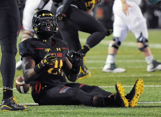 Maryland Terrapins defensive back Sean Davis (21) reacts after missing a chance at an interception during the second quarter Saturday, Nov. 15, 2014 at Byrd Stadium in College Park, Md. Credit: Courtesy of TNS