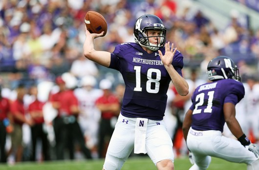Northwestern quarterback Clayton Thorson (18) throws a pass in the first half of a game against Stanford at Ryan Field on Saturday, Sept. 5, 2015 in Evanston, Ill. Northwestern won 16-6. Credit: Courtesy of TNS