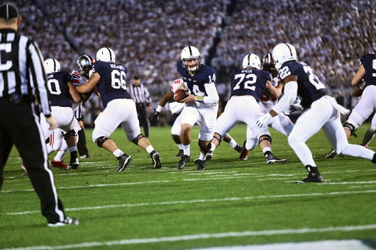 Penn State then-sophomore quarterback Christian Hackenberg (14) holds the ball during a game against OSU on Oct. 25 in State College, Pennsylvania. OSU won 31-24 in double overtime. Credit: Lantern File Photo