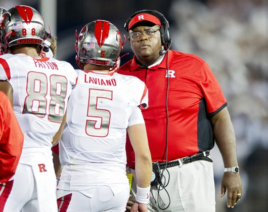 Rutgers interim head coach Norries Wilson talks to his players amid a 28-3 loss against Penn State on Saturday, Sept. 19, 2015, at Beaver Stadium in University Park, Pa. Credit: Courtesy of TNS