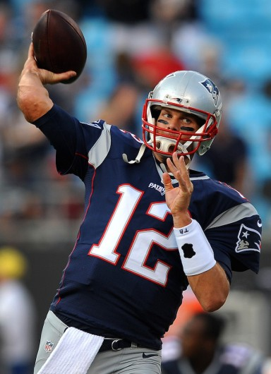 New England Patriots quarterback Tom Brady during a warmups prior to preseason action against the Carolina Panthers on Friday, Aug. 28, 2015, at Bank of America Stadium in Charlotte, North Carolina. Credit: Courtesy of TNS