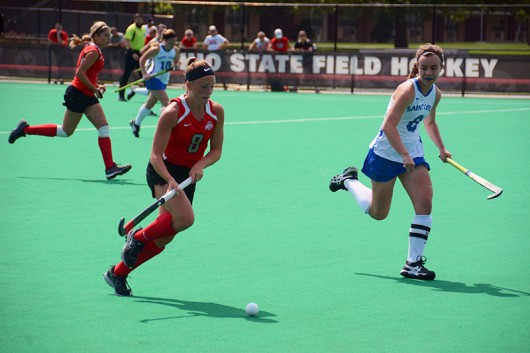 Sophomore midfielder Morgan Kile (8) battles for the ball in a game against Saint Louis on Aug. 28 at Buckeye Varsity Field. OSU won 5-0. Credit: Kevin Stankiewicz / Asst. Sports Editor