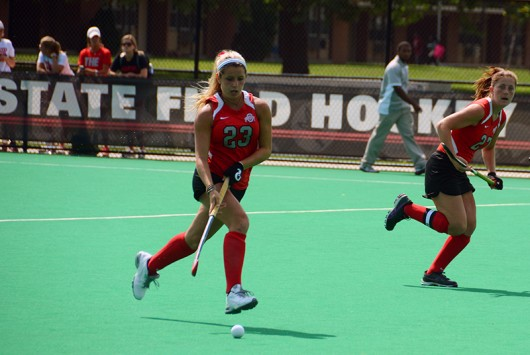 OSU sophomore forward/midfielder Maddy Humphrey (23) runs with the ball during a game against St. Louis on Aug. 28. OSU won 5-0. Credit: Kevin Stankiewicz / Asst. Sports Editor