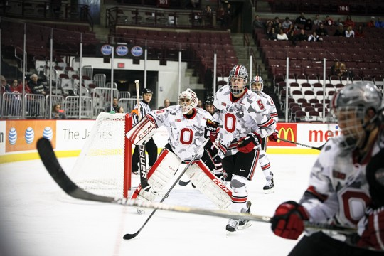 OSU then-sophomore goalie Christian Frey (30) during a game against Omaha on August 11, 2014 at the Schottenstein Center. Credit: Lantern File Photo
