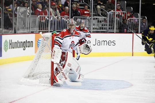 OSU then-sophomore goalie Matt Tomkins (31) during a game against Michigan on Jan. 16 at the Schottenstein Center. Credit: Lantern File Photo