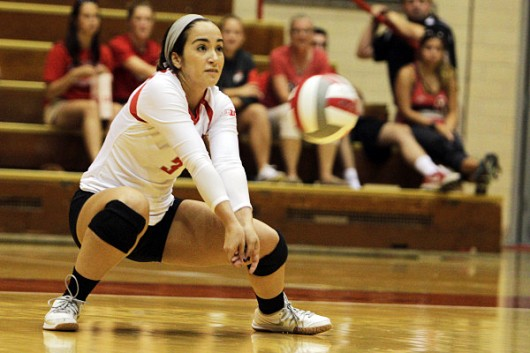 OSU junior defensive specialist Valeria Leon (3) prepares to hit the ball during a game against Florida State on Sept. 6 at St. John Arena. OSU won 3-1. Credit: Courtesy of OSU
