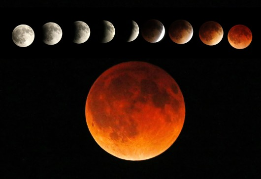 A rare super bloodmoon will appear Sunday evening, between 9 p.m. and 11 midnight. Credit: Courtesy of TNS