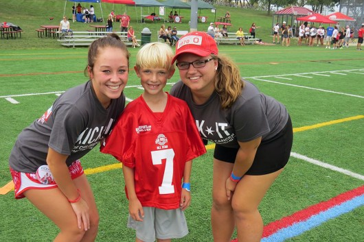"""Kick-it-all Star"" Reid Zupanc (middle) poses for a photo with Mary Stoll (left) and Sarah Scheiwiller during last year's kickball tournament. Photos courtesy of Katie Widman"
