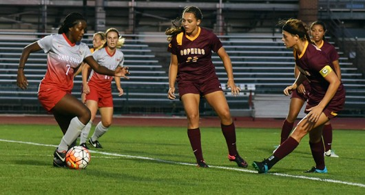 Junior forward Nichelle Prince (7) dribbles with the ball during a game against Minnesota on Sept. 17. OSU lost 2-1.
