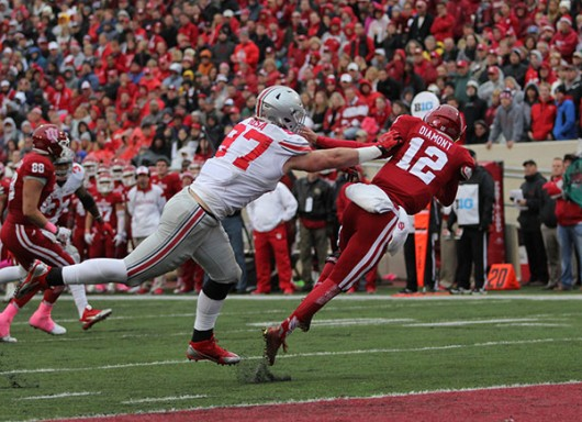 Former OSU defensive end Joey Bosa sacks Indiana quarterback Zander Diamont on Oct. 3 at Indiana. Credit: Samantha Hollingshead | Photo Editor.