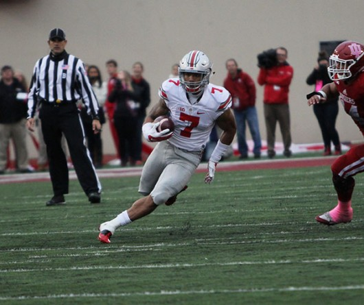 OSU redshirt sophomore H-back Jalin Marshall (7) runs with the ball during a game against Indiana on Oct. 3 in Bloomington, Indiana. OSU won, 34-27. Credit: Samantha Hollingshead / Photo Editor