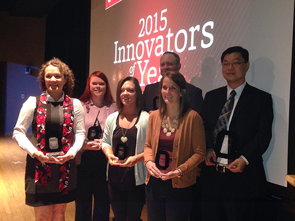 Recipients of the 2015 Innovator of the Year Awards. From left to right: Melissa Bailey, Sarah-Jane Baserman, Hayley Townsend, Phillip Newman, Stephanie Ritchie, Robert Lee (not in attendance: Megan Miller-Lloyd). Credit: Clayton Eberly / Lantern Reporter