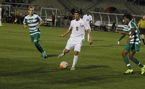 OSU junior forward Danny Jensen (9) during a game against Cleveland State on Oct. 21 at Jesse Owens Memorial Stadium. OSU won 1-0. Credit: Christopher Slack / Lantern Photographer