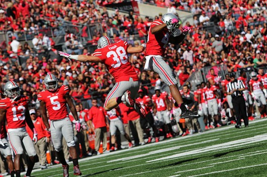 OSU redshirt junior linebacker Craig Fada (38) celebrates during OSU's 49-28 victory over Maryland on Oct. 10. Credit: Samantha Hollingshead / Photo Editor