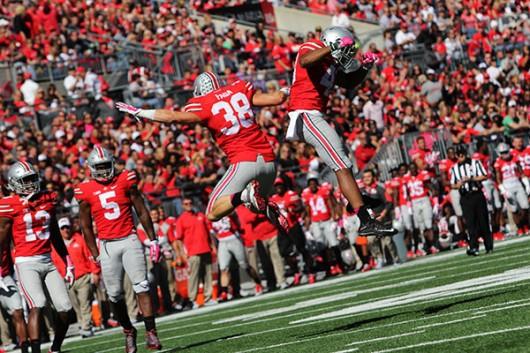OSU redshirt junior linebacker Craig Fada (38) celebrates during OSU's 49-28 victory over Maryland on Oct. 10. Credit: Samantha Hollingshead / Photo Editor