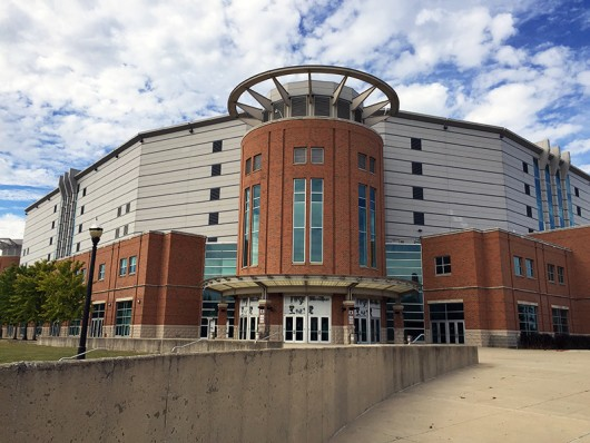 A view of the southern part of the Schottenstein Center from Lane Avenue. Credit: William Kosileski / Lantern Reporter