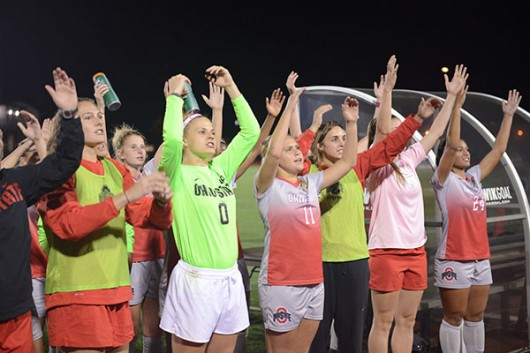 The OSU women's soccer team participates in 'Carmen Ohio' following a 3-2 win over Purdue on Oct. 8 at Jesse Owens Memorial Stadium. Credit: Anbo Yao / Lantern photographer