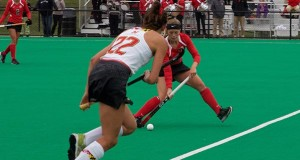 Sophomore midfield Morgan Kile carries the ball for the Buckeyes Oct. 2 against Maryland at Buckeye Varsity Field.