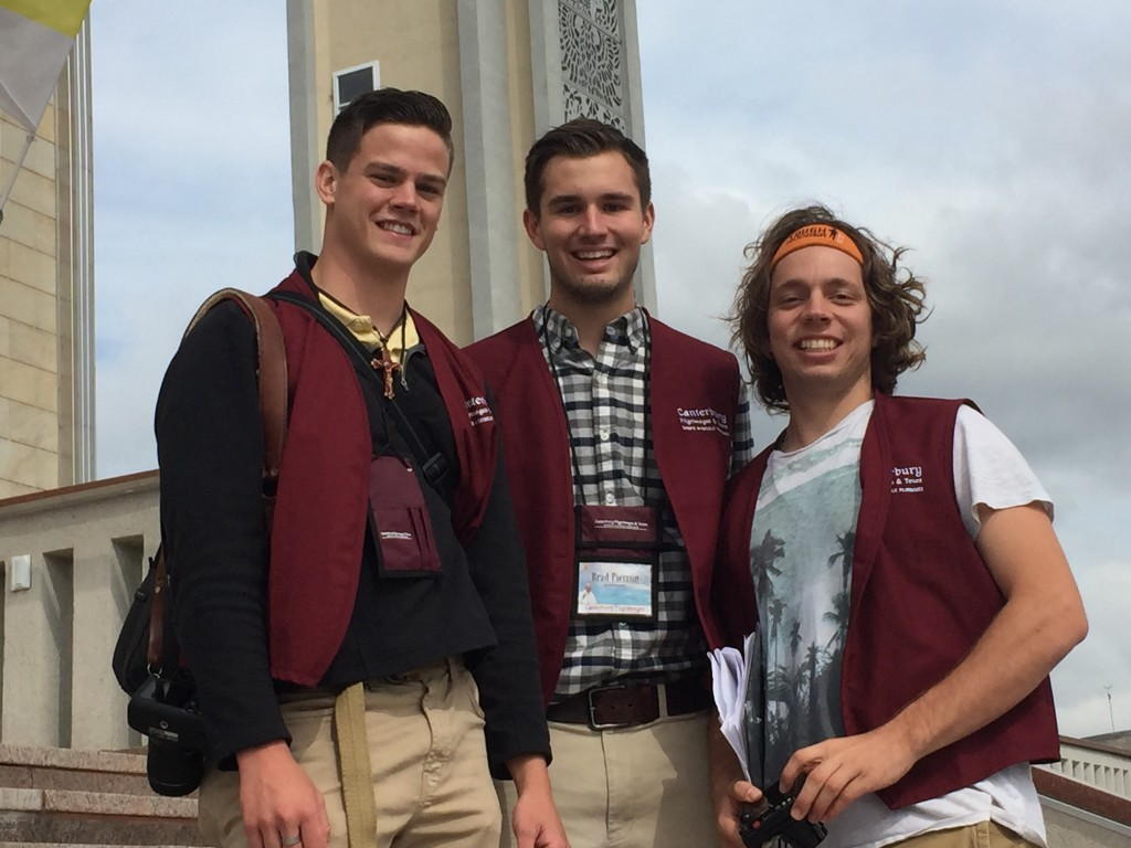 Three Ohio State students who traveled to Philadelphia to see Pope Francis on Sunday. From left to right: Tony Losekamp, Brad Pierron and Samuel Jones. Courtesy: Austin Schafer